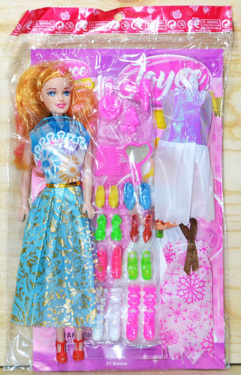 Q01 Кукла 2 платья с аксессурами 8 туфлей в пакете 33*20