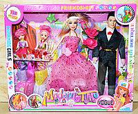2099 Куклы семья с 2 детьми Modern Time с аксессуарами  38*32