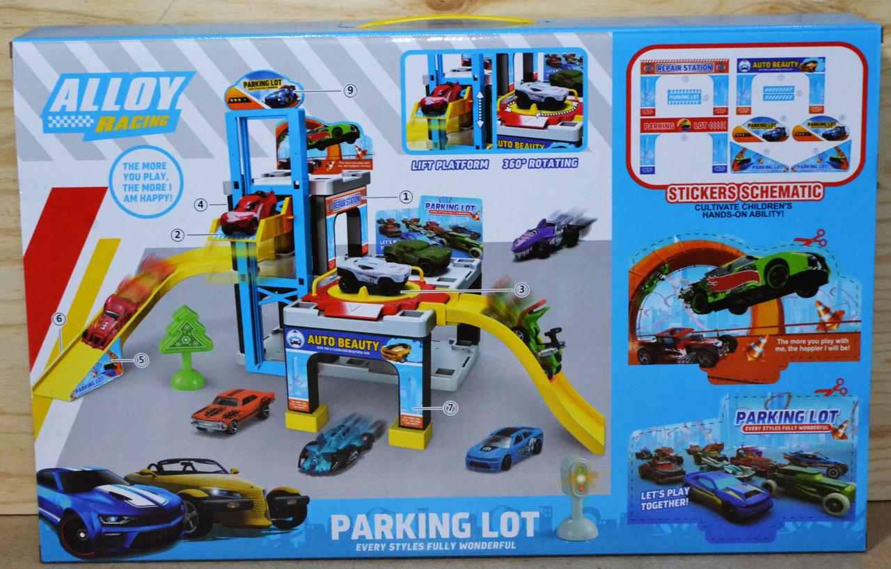 1211 Парковки трех уровней Alloy Racing Parking Lot 3 машинки светится светофор 53*34 (60.5*30*30.8)