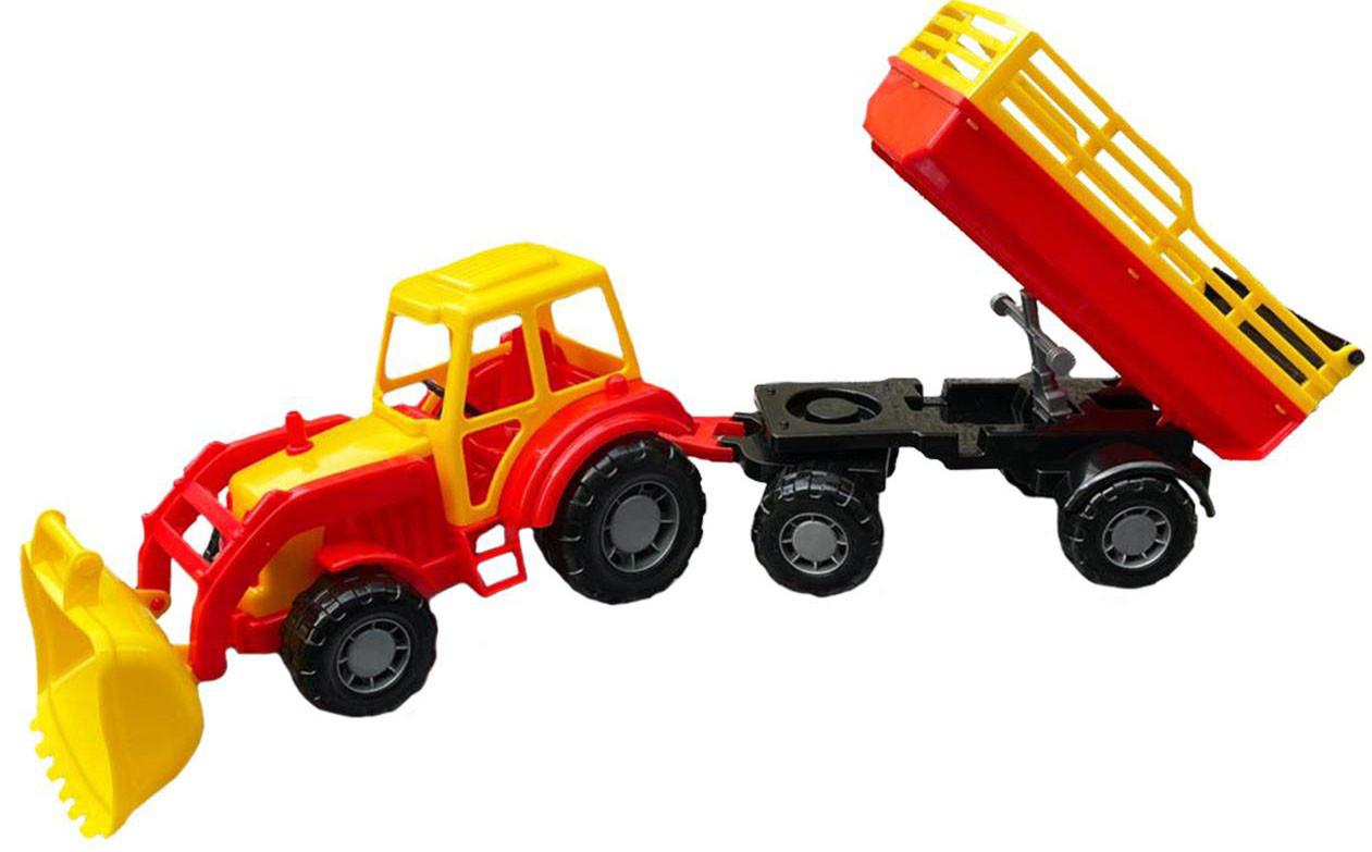 157 Трактор(ковш) с прицепом/самосвал 65*18см