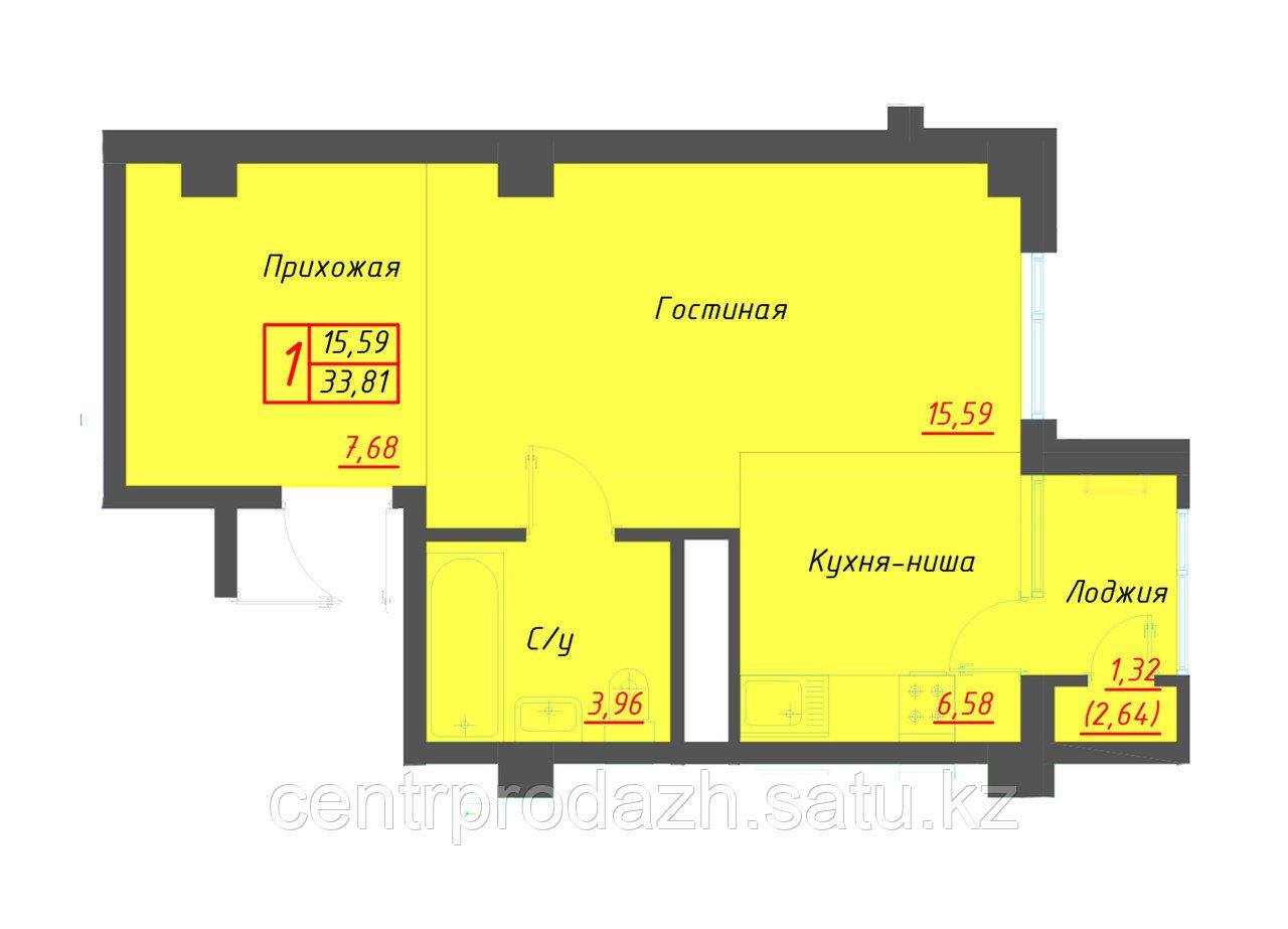 """1 ком в ЖК """"Оазис"""" 33.81 м²"""