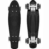 Пенни борд подростковый 56*15 Penny Board с гелевыми светящимися прозрачными колесами черный