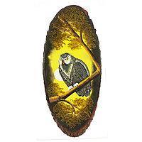 """Картина на срезе дерева """"Филин на ветке"""" вертикальное 75-80 см каменная крошка"""