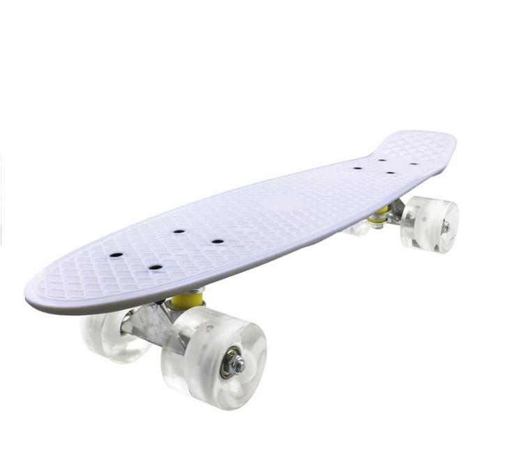 Пенни борд подростковый 56*15 Penny Board с гелевыми светящимися прозрачными колесами белый - фото 6