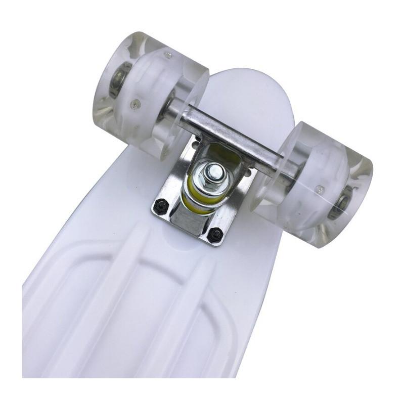 Пенни борд подростковый 56*15 Penny Board с гелевыми светящимися прозрачными колесами белый - фото 7