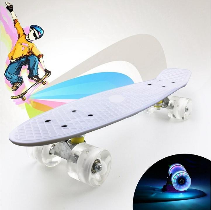Пенни борд подростковый 56*15 Penny Board с гелевыми светящимися прозрачными колесами белый - фото 10