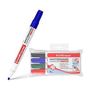 Набор маркеров для досок, цв. чернил: черный, синий, красный, зеленый ErichKrause® W-500