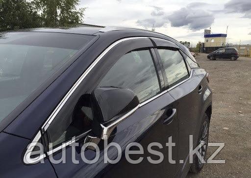 Ветровики на Lexus Rx Long 2015-2021/дефлекторы боковых окон на Лексус рх Лонг с хромом