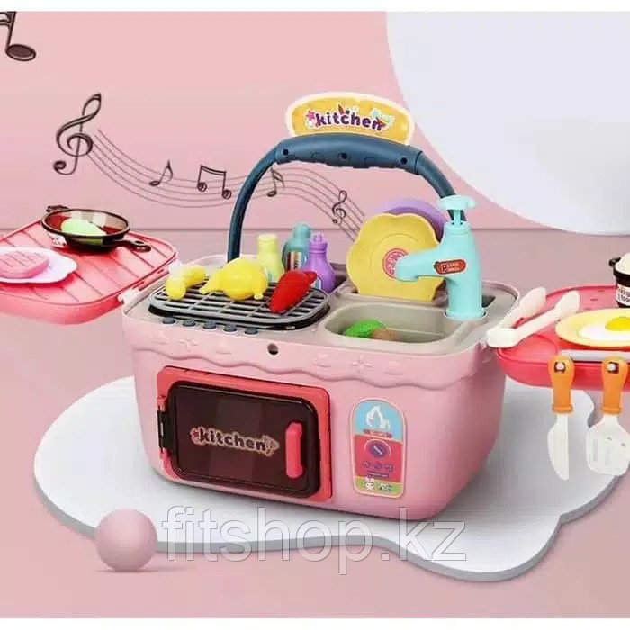 Детская игровая кухня picnic chef в чемодане розовая со звуковыми и световыми эффектами на батарейках