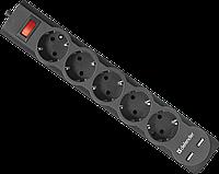 Сетевой фильтр Defender DFS 753 (3,0 м, 2xUSB, 5 розеток, Black)