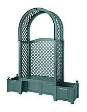 """Садовая арочная скамейка KHW 43803 """"Амстердам"""" с двумя клумбами и шпалерами, зеленая (2кор)"""