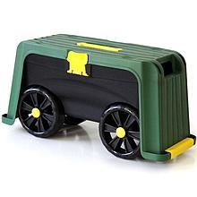 Ящик садовый со скамейкой-перевертышем на колесах 4 в 1 (зеленый/черный)