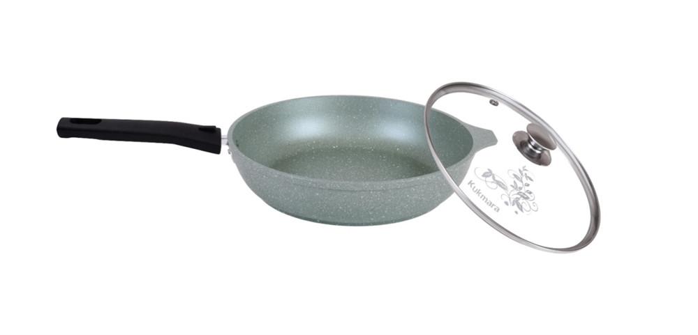 Сковорода 240/60мм. со съемной ручкой и стекл. крышкой, (фисташковый мрамор)