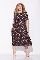 Женское летнее коричневое большого размера платье Koketka i K 838-2 коричневый/горох 54р.