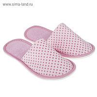 Тапочки велюр с люрексом закрытые, цвет розовый, размер 36-38