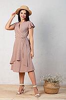 Женское летнее из вискозы бежевое большого размера платье Angelina 449 бежевый 56р.