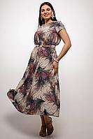 Женское летнее шифоновое большого размера платье La rouge 5351 молочный-набивной 46р.