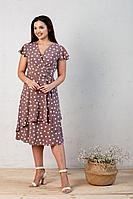 Женское летнее из вискозы коричневое большого размера платье Angelina 449 мокко 46р.