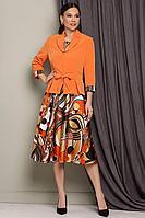 Женский осенний шифоновый комплект с платьем Мода Юрс 2513 оранжевый 50р.