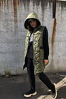 Женский осенний трикотажный спортивный большого размера спортивный костюм Runella 1434 хаки 50р.