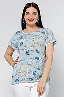 Женская летняя голубая большого размера блуза La rouge 6123 голубой-(цветы) 50р.
