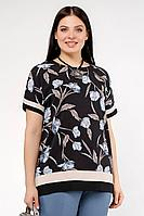 Женская летняя шифоновая большого размера блуза La rouge 6142 черный-(голубой) 48р.