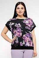 Женская летняя шифоновая большого размера блуза La rouge 6153 черный-(цветы) 52р.