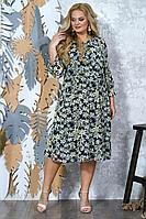 Женское осеннее шифоновое большого размера платье Alani Collection 1352 54р.