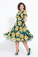 Женское летнее шифоновое нарядное большого размера платье Solomeya Lux 790 желтый 48р.