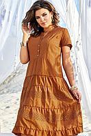 Женское летнее хлопковое коричневое нарядное большого размера платье Vittoria Queen 12283 52р.