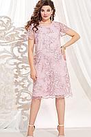 Женское летнее кружевное розовое нарядное большого размера платье Vittoria Queen 13803 50р.