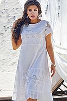 Женское летнее хлопковое белое нарядное большого размера платье Vittoria Queen 12763 50р.