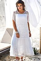 Женское летнее белое нарядное большого размера платье Vittoria Queen 12663 50р.