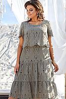 Женское летнее хлопковое зеленое нарядное большого размера платье Vittoria Queen 12713 50р.