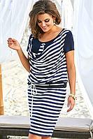 Женское летнее трикотажное нарядное большого размера платье Vittoria Queen 11363/1 48р.