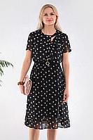 Женское осеннее шифоновое черное большого размера платье MadameRita 5116 50р.