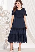 Женское летнее хлопковое синее нарядное большого размера платье Vittoria Queen 12573/1 50р.
