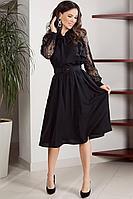 Женское осеннее шифоновое черное нарядное платье Teffi Style L-1544 черный 46р.