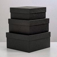 Набор коробок 3 в 1 'Черный крафт', однотонные, 19 х 19 х 9,5 - 15,5 х 15,5 х 6,5 см
