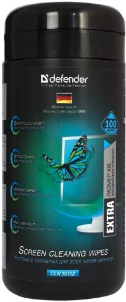Универсальные чистящие салфетки для экранов Defender CLN 30102 Pro, в тубе 100шт 30102