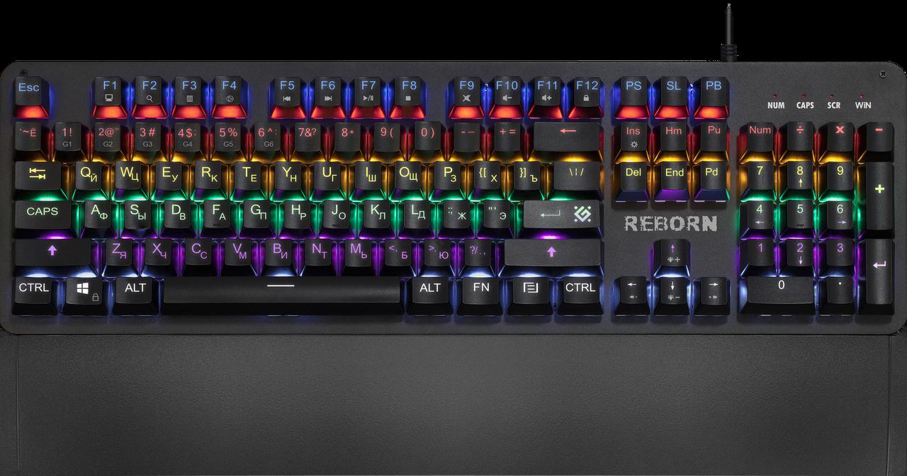 Клавиатура проводная игровая механическая Defender Reborn GK-165DL