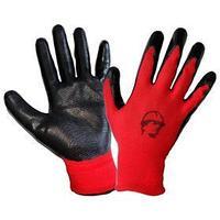 Перчатки нейлоновые с нитриловые покрытием, цвет красный/черный