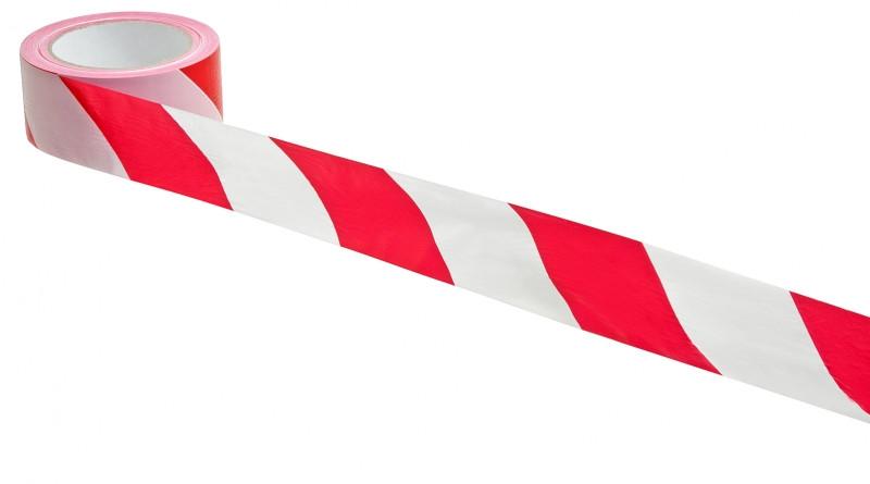 Сигнальная оградительная лента красно-белая (70 мм х 200 м)