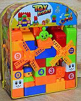 602 Констр Toy bricks в рюкзаке, паровоз+2фигурки, 68дет, 30*24см, фото 1