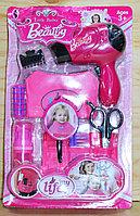 V810-AB Little barber beauty набор парикмахера на картонке 9предметов(фен на батар)34*21см