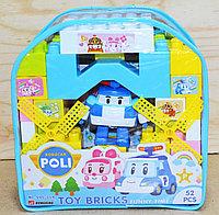 990-014 Констр Toy Bricks в рюкзаке Робокар Поли, 52дет, голуб цвет, 20*20см, фото 1