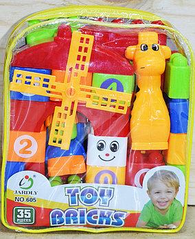 605 Констр Toy Bricks в рюкзаке, мельница,жираф, 35дет,20*18см