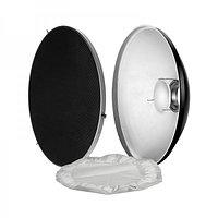 Портретная тарелка (Beauty Dish) 55 см с сотами и тканевым диффузором, байонет Bowens. Серебристая, фото 1
