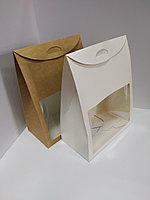 Коробка-пакет 29х22х12 см с окном, белая и крафт