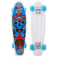 Пенни борд подростковый 56*15 Penny Board с гелевыми светящимися прозрачными голубыми колесами цветной принт
